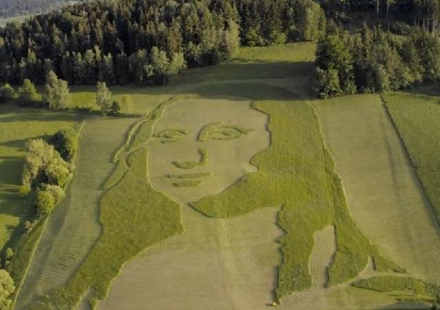 В Чехии появился гигантский газон с портретом Джоконды: видео