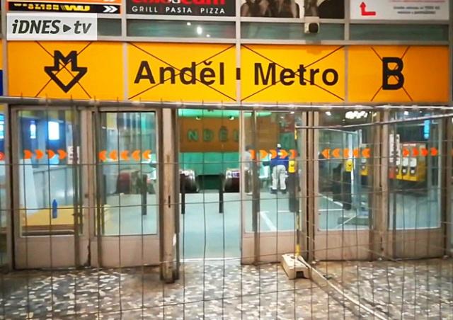 Вход на станцию метро Anděl в Праге закрыли на 9 месяцев