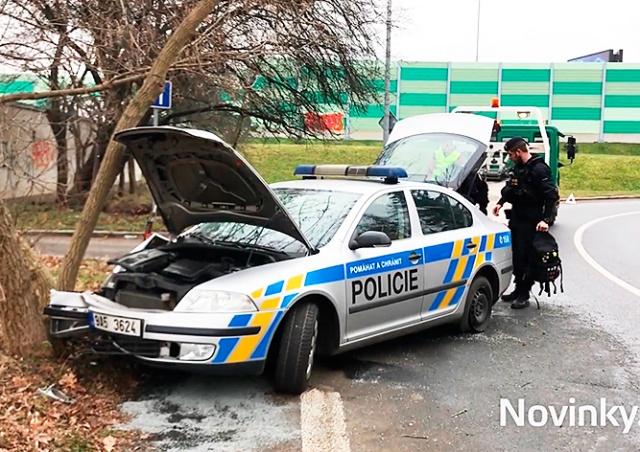 В Праге спешившие на вызов полицейские врезались в дерево
