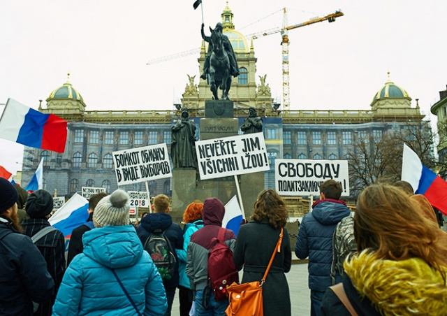 В центре Праги прошел митинг в поддержку Навального