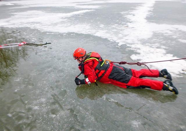 В Чехии пожарные спасли из ледяной воды собаку