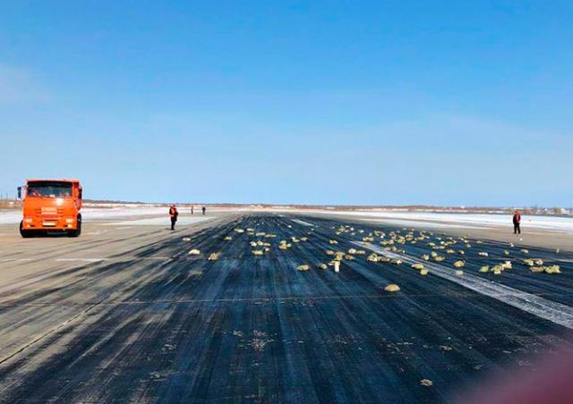 В России из самолета высыпались золотые слитки