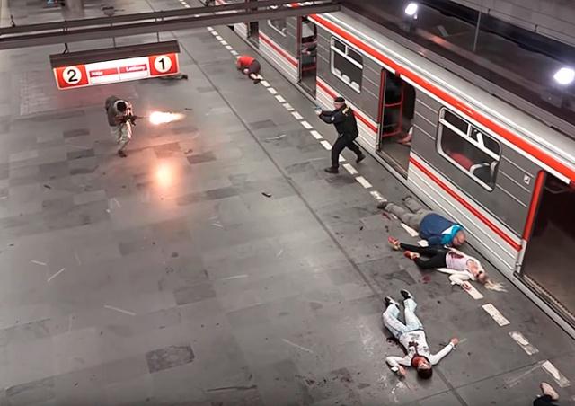 В пражском метро инсценировали теракт: видео
