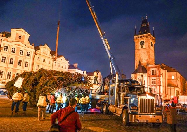 На Староместской площади Праги установили рождественскую ёлку: видео