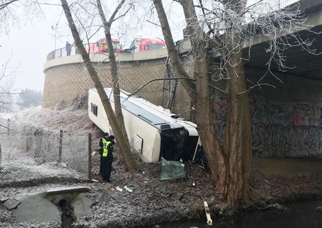 В Чехии автобус упал с обрыва