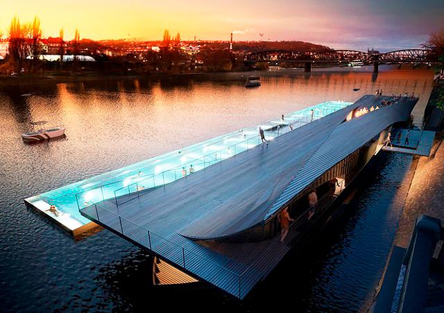 Как будет выглядеть плавучий бассейн в центре Праги: видео