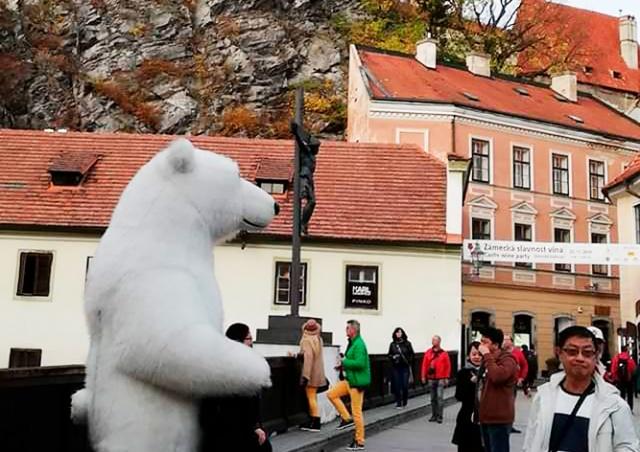 Гигантский белый медведь мигрировал из Праги в Чешский Крумлов