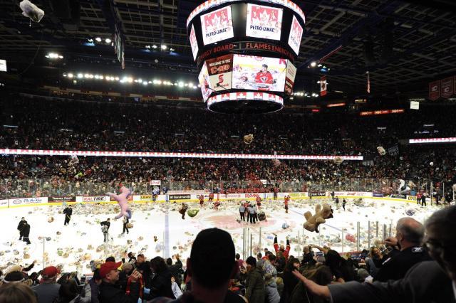 Хоккейные фанаты выбросили на лед 45 тыс. плюшевых медведей: видео