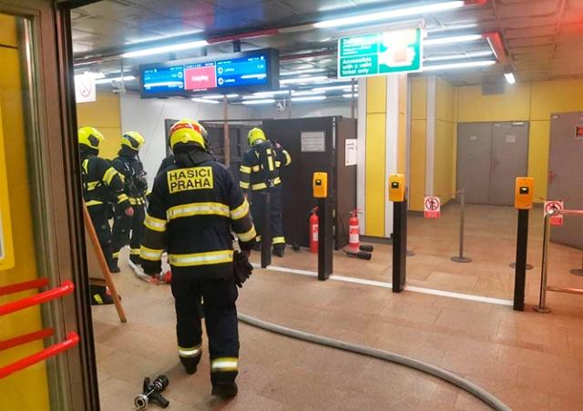 Станцию пражского метро закрыли из-за пожара