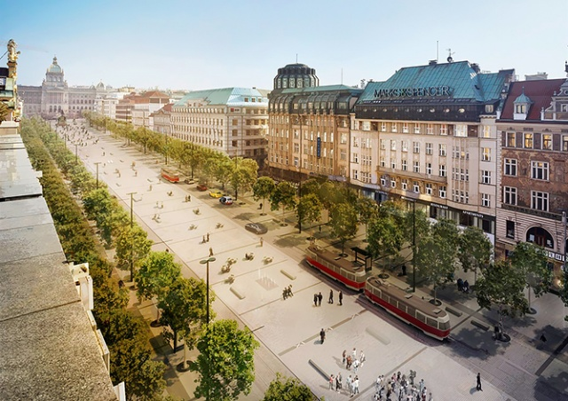 В Праге началась реконструкция Вацлавской площади