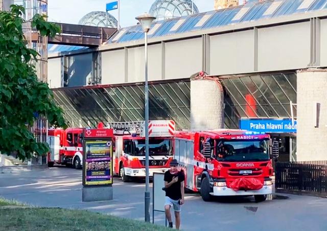 В здании Главного вокзала Праги произошел пожар