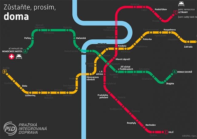 Пражские транспортники выпустили «карантинную» карту метро
