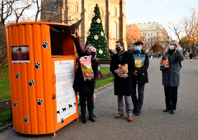 Прага-2 установила контейнер для сбора корма бездомным собакам и кошкам