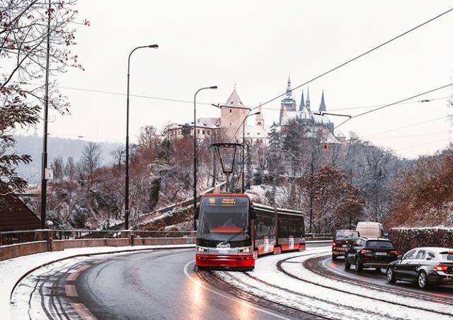 В Праге выпал первый снег