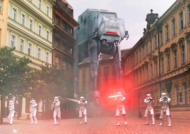 Lego сняла в Праге красочную рекламу с шагоходом и штурмовиками: видео