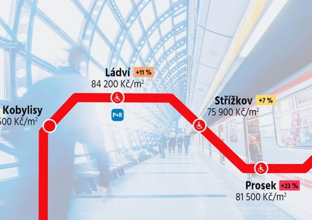 Опубликована карта цен на квартиры у станций метро Праги