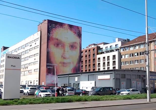 В Праге появилось гигантское граффити с эффектом очищения воздуха