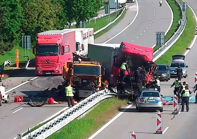 Смертельное ДТП на чешской автомагистрали попало на видео