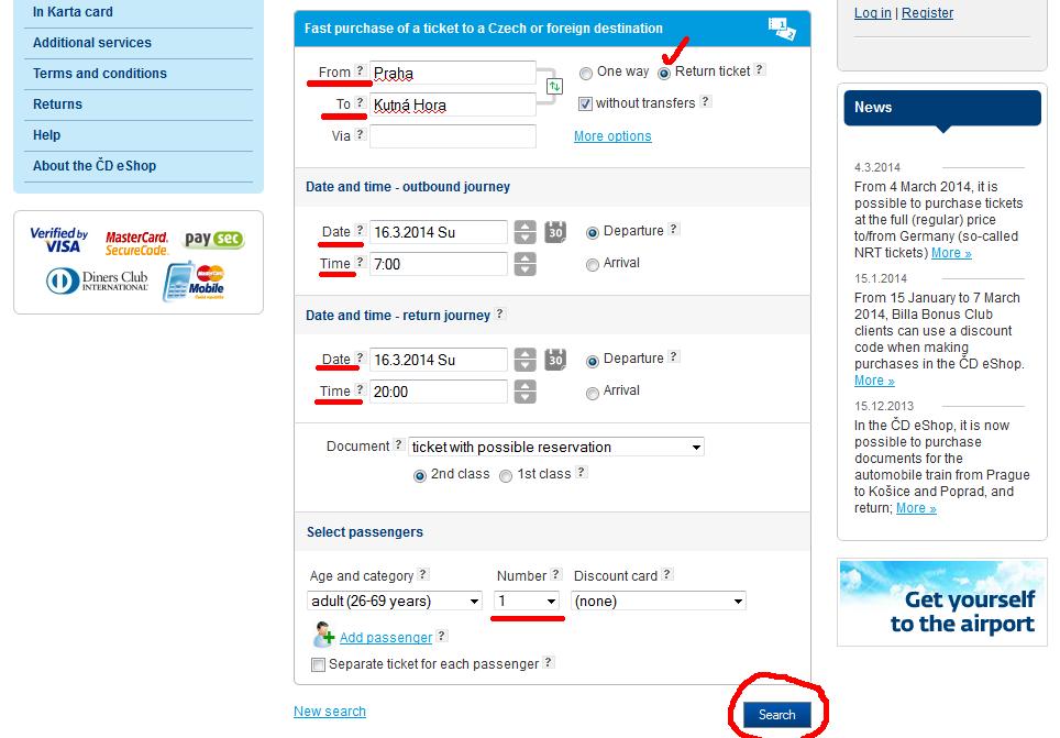 Покупаем билет на сайте железных дорог Чехии