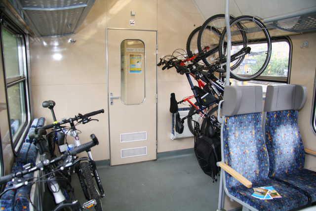 Велосипед в поезде Чехия