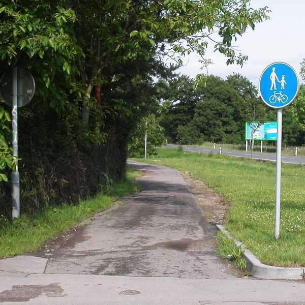 Велосипедная дорожка в Чехии совмещенная