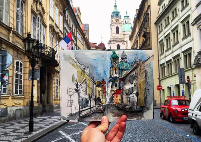Зарисовки и эскизы Праги (49)