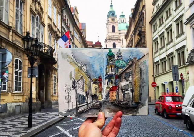 Необычный проект: студентка ежедневно делала по одной зарисовке Праги