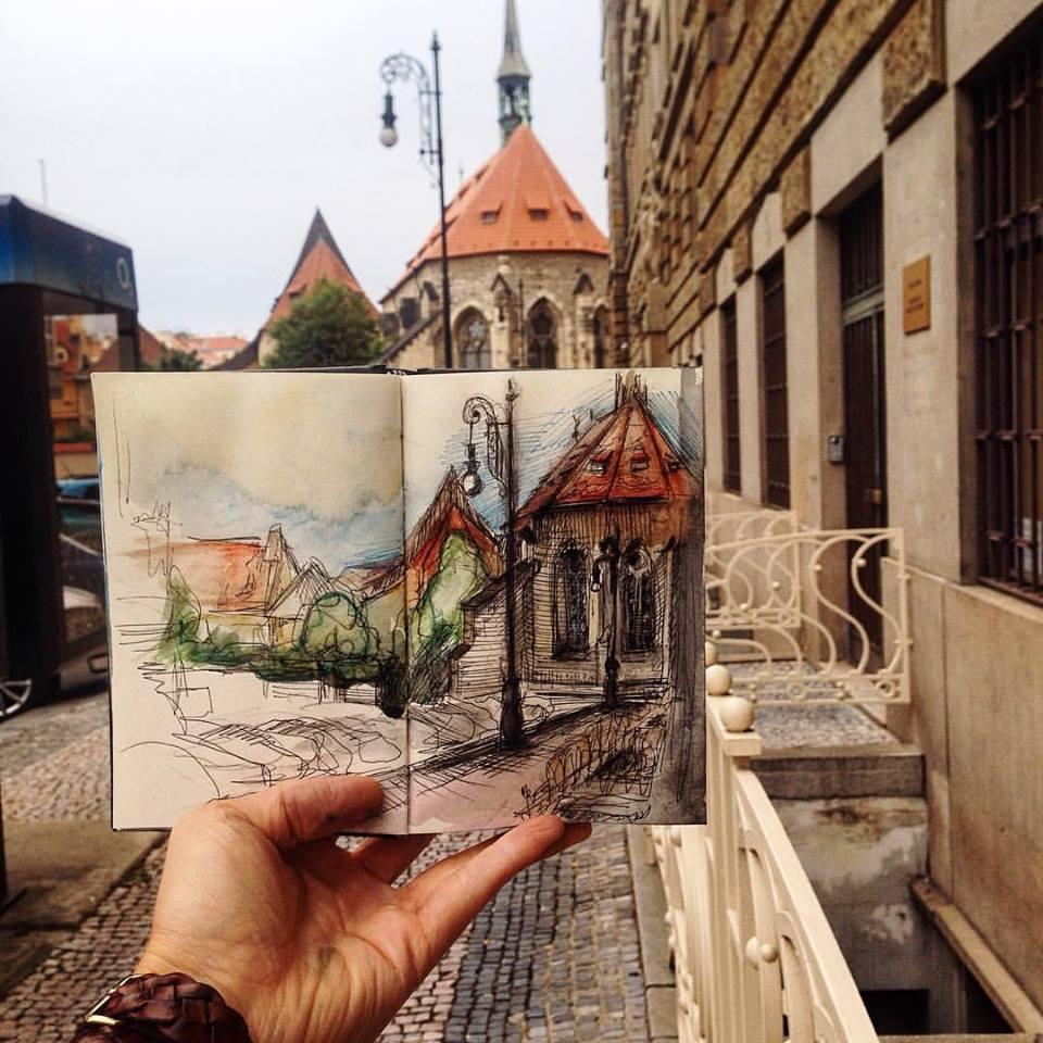 Зарисовки и эскизы Праги (27)