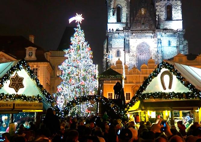 Видео: в Праге зажгли главную рождественскую ёлку Чехии