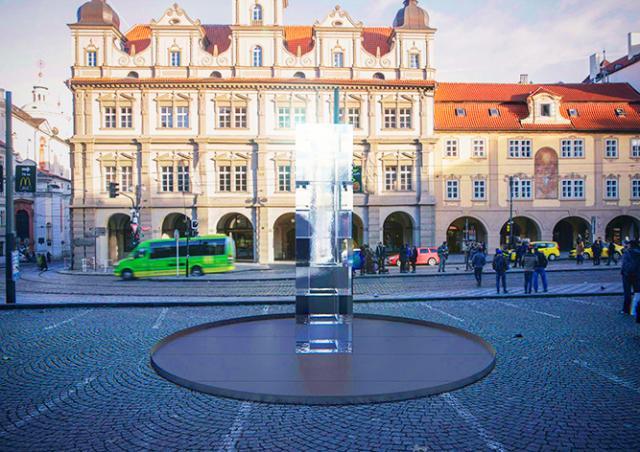 В центре Праги установили 4-тонную ледяную скульптуру