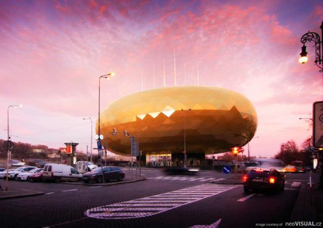 В центре Праги хотят построить «Золотое яйцо»